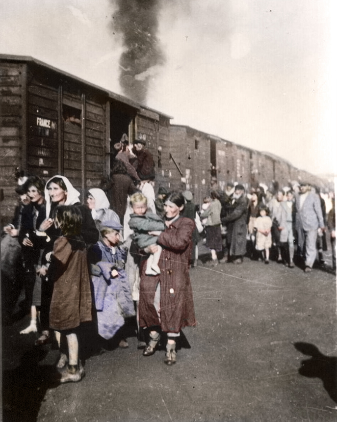 Men, women and children from the Siedcle ghetto forced into cattle trains to Nazi extermination camp Treblinka
